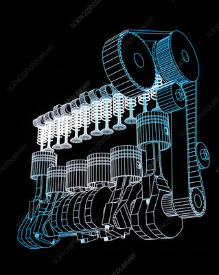 Computer Aided Design Of A Car Engine Stock Image T476