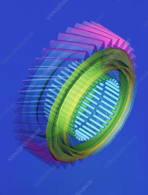 Computer-aided design of a gear with bearings