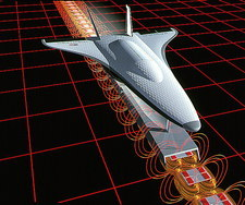 CAD of spacecraft launched by magnetic levitation