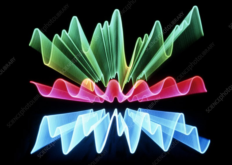 Abstract computer graphic image of light waves