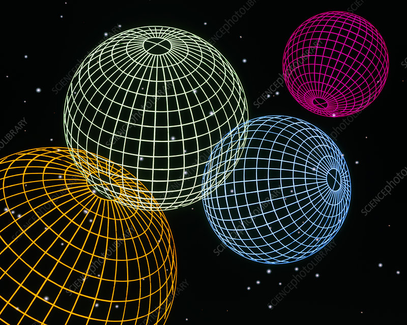 Computer graphics image of 4 wire-drawn spheres