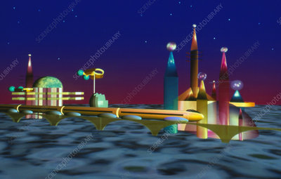 Computer graphic artwork of a future city