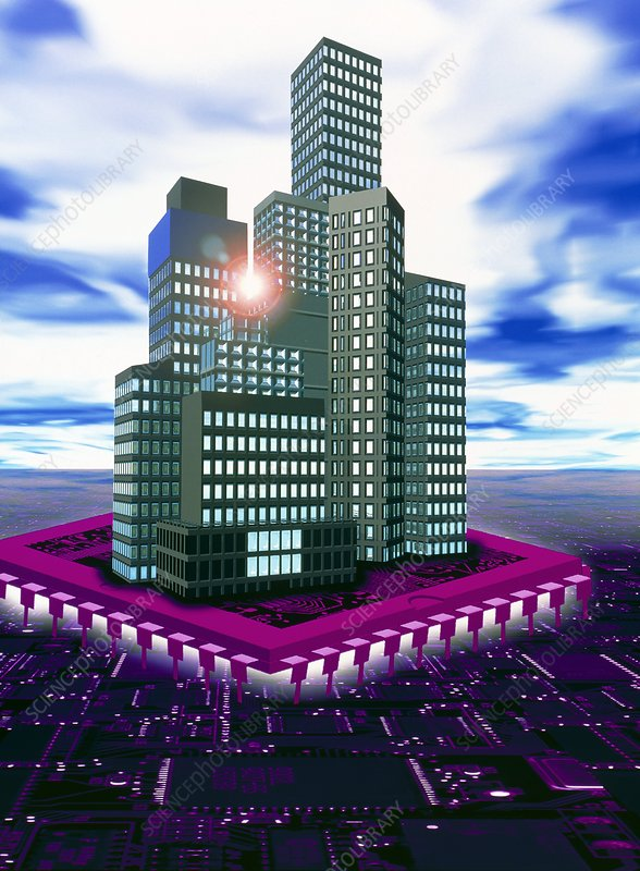 Computer art of future city floating on microchip
