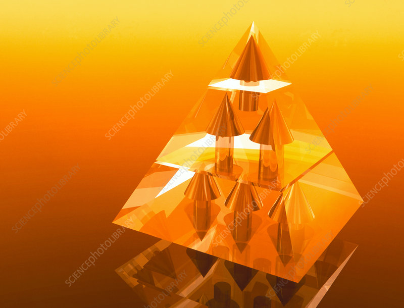 Abstract computer artwork of a pyramid of arrows