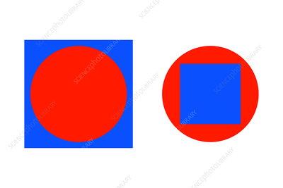 Circle in a square illusion