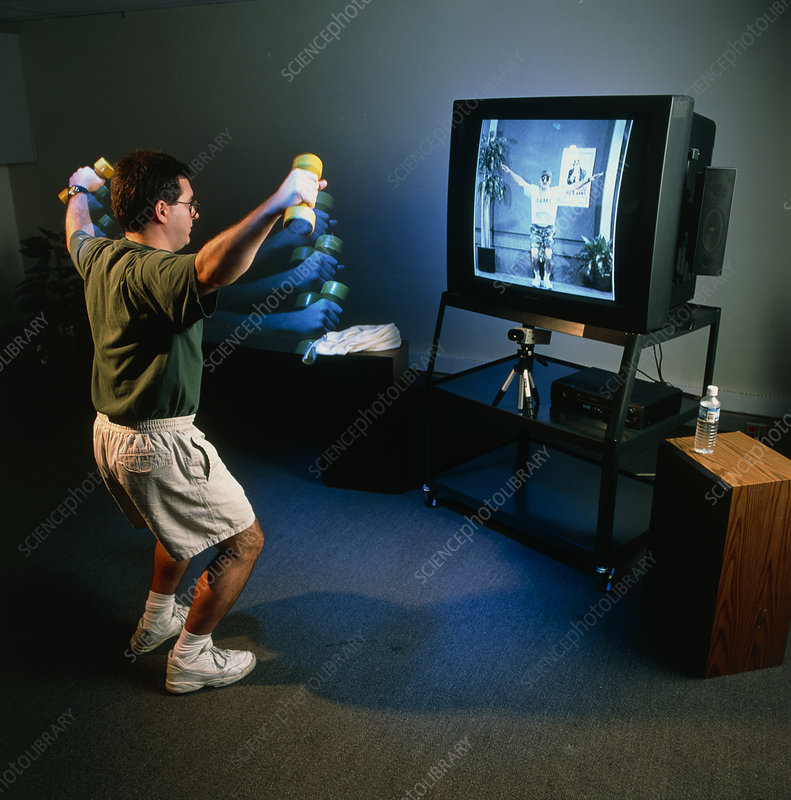 View of a man undergoing virtual aerobics