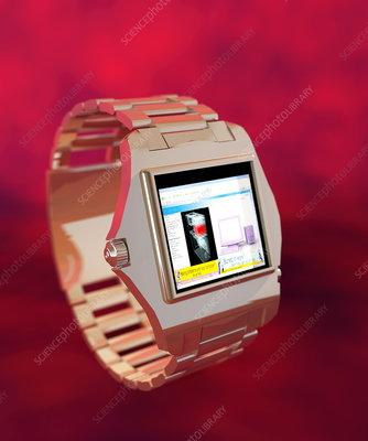 Wrist watch computer, computer artwork