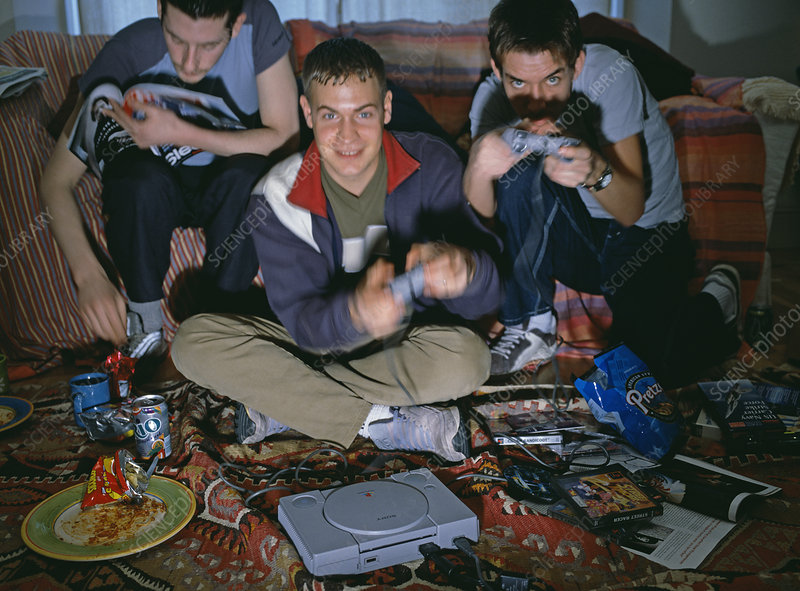 Friends playing computer games
