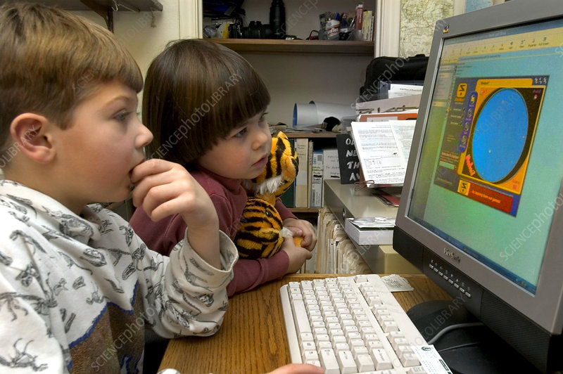 Children Playing a Game on a Computer