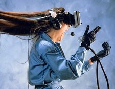 Researcher wearing Virtual Reality headset