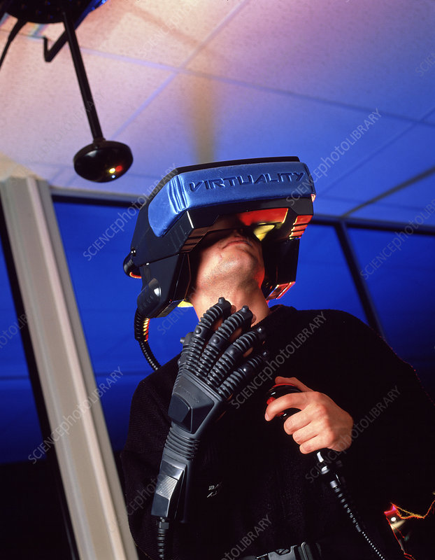 Wearing virtual reality helmet and glove