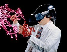 Digital composite of scientist & molecules, VR