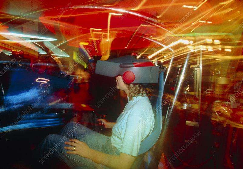 Customer in virtual reality game simulator