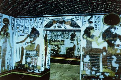 Virtual tourism: screen display of Nefertari tomb