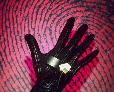 Virtual reality glove with fingerprint background