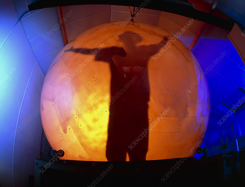 Man silhouetted in the virtual reality cybersphere