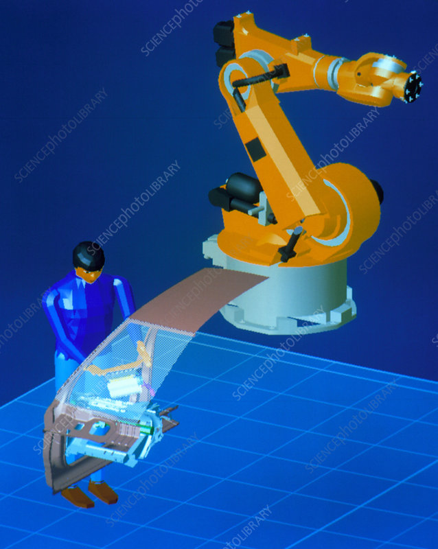 Virtual car factory worker adding dashboard piece