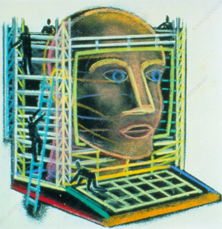 Abstract artwork of a head within a computer
