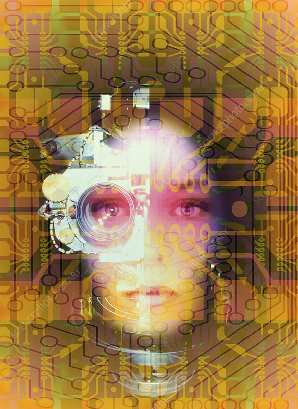 Artificial intelligence: face and circuit board