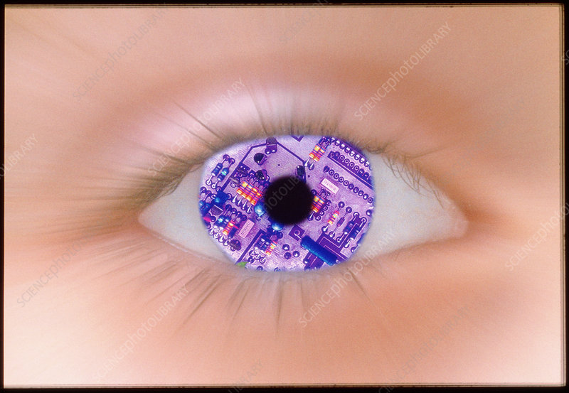 Zoom effect of eye with circuit board in iris