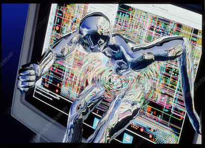Computer art of humanoid breaking out of computer