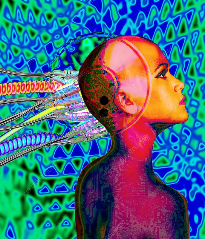 Computer artwork of wires in a woman's head