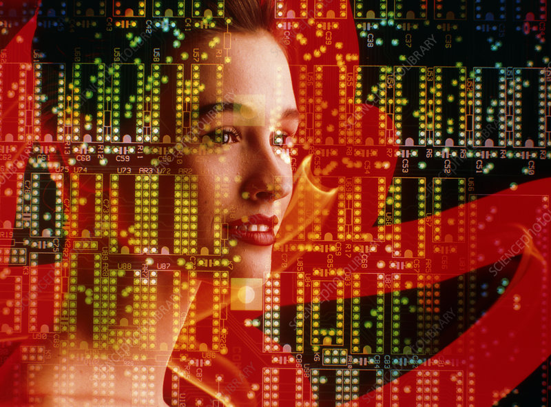 Artificial intelligence: woman and circuit board