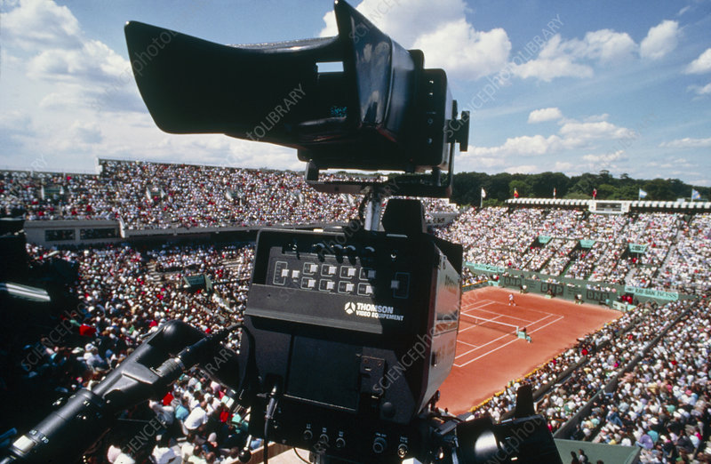 High-definition TV camera at tennis tournament