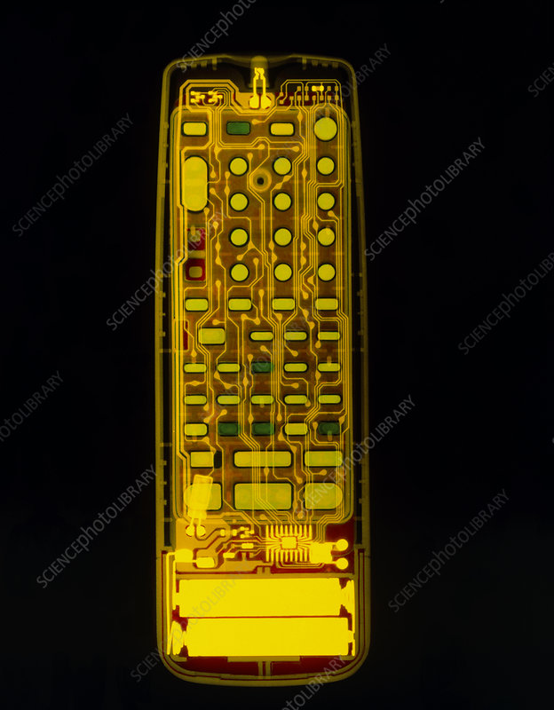 Coloured X-ray of a TV and video remote control