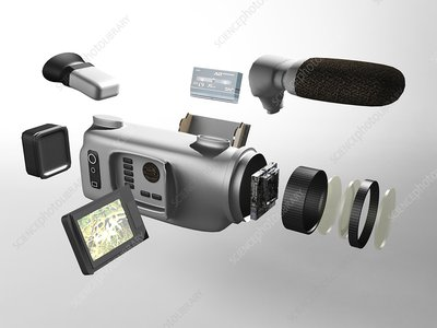 Video camera parts, computer artwork