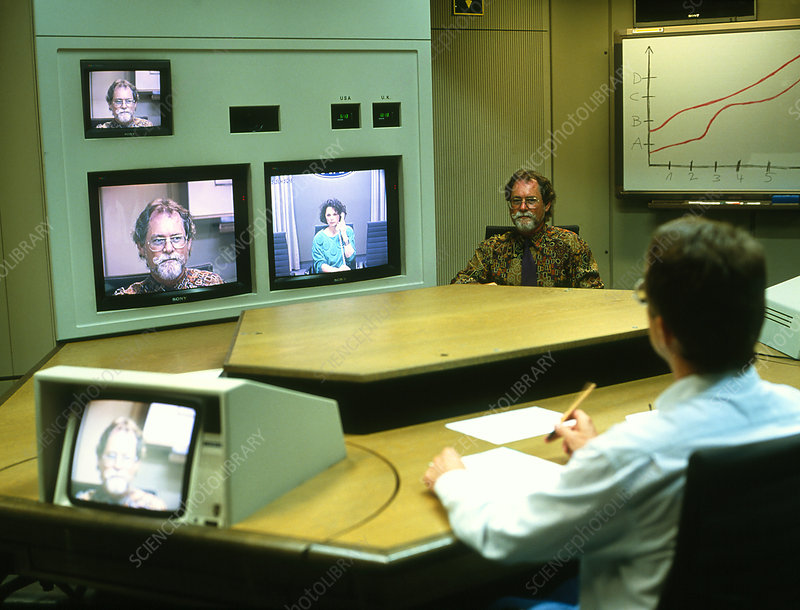 Televisions in use during a video conference