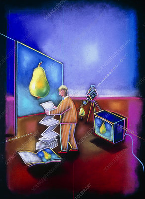 Artwork of advertiser with television and video