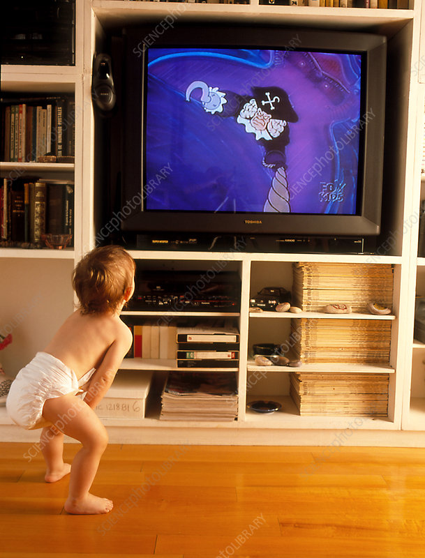 Young child watches television