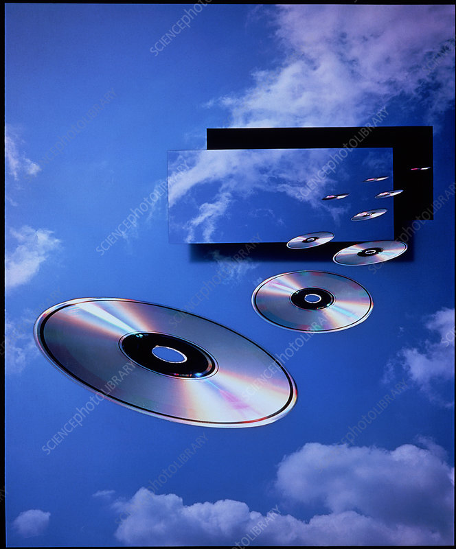 CDs floating in the sky