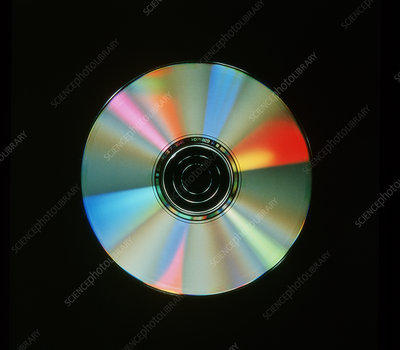 Compact disc with light interference patterns