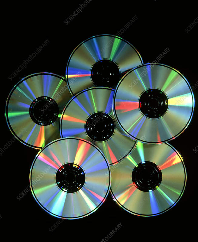 Compact discs with light interference patterns - Stock Image