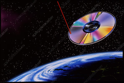 Abstract artwork of laser & CD over Earth