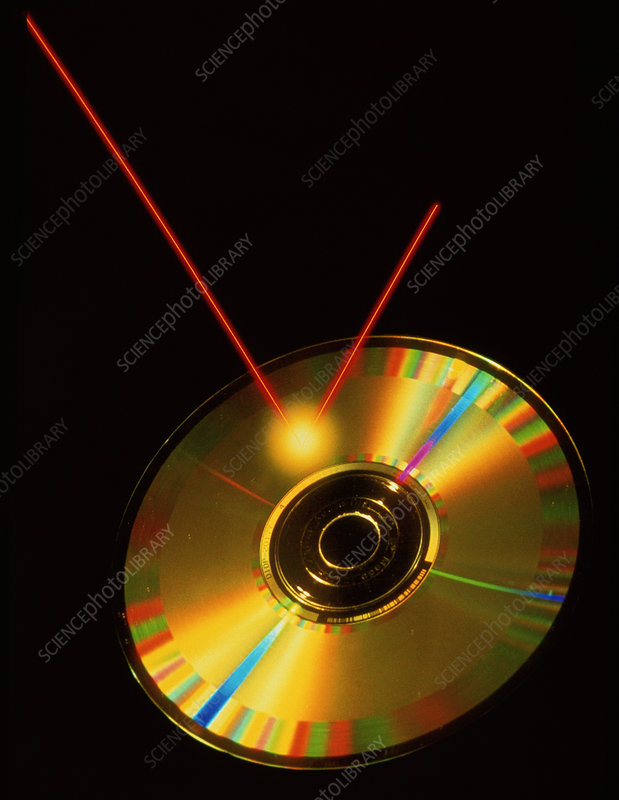 Compact disc being read by laser