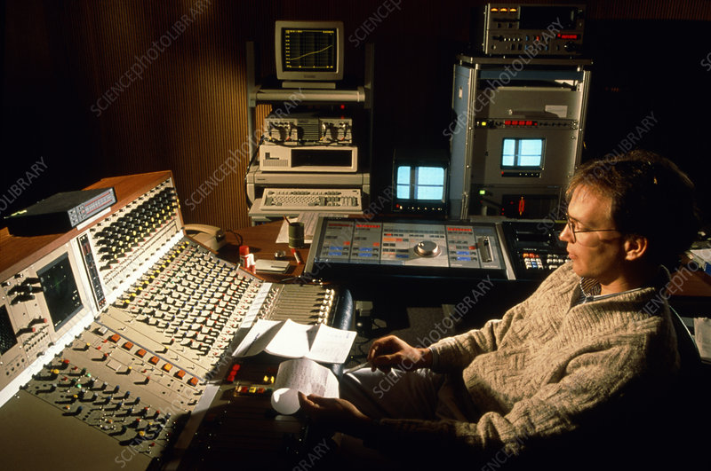Engineer working in a sound recording studio