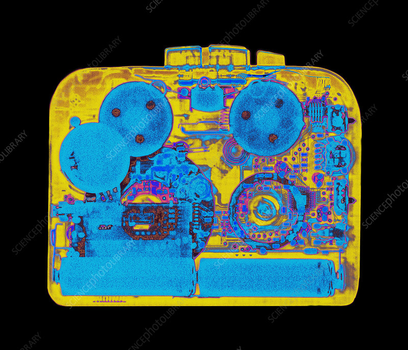 Coloured X-ray of a walkman cassette player