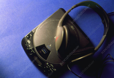View of a discman, a portable compact disc player