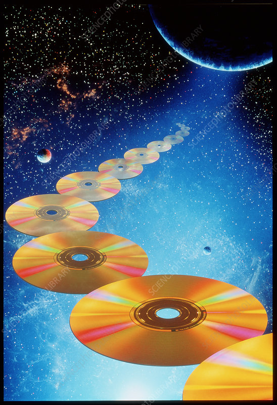 Computer art of compact discs floating in space