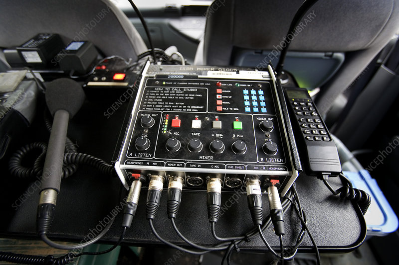 Broadcast equipment in radio car