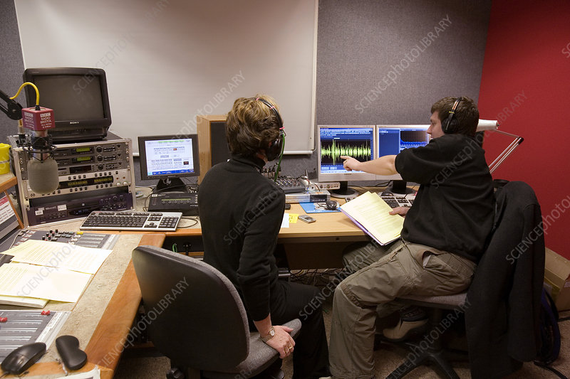 Sound engineers in a radio station