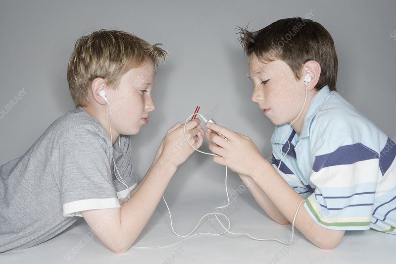 Boys listening to music
