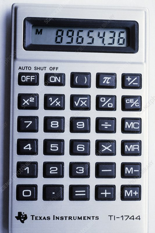 Pocket calculator showing LCD panel & keypad