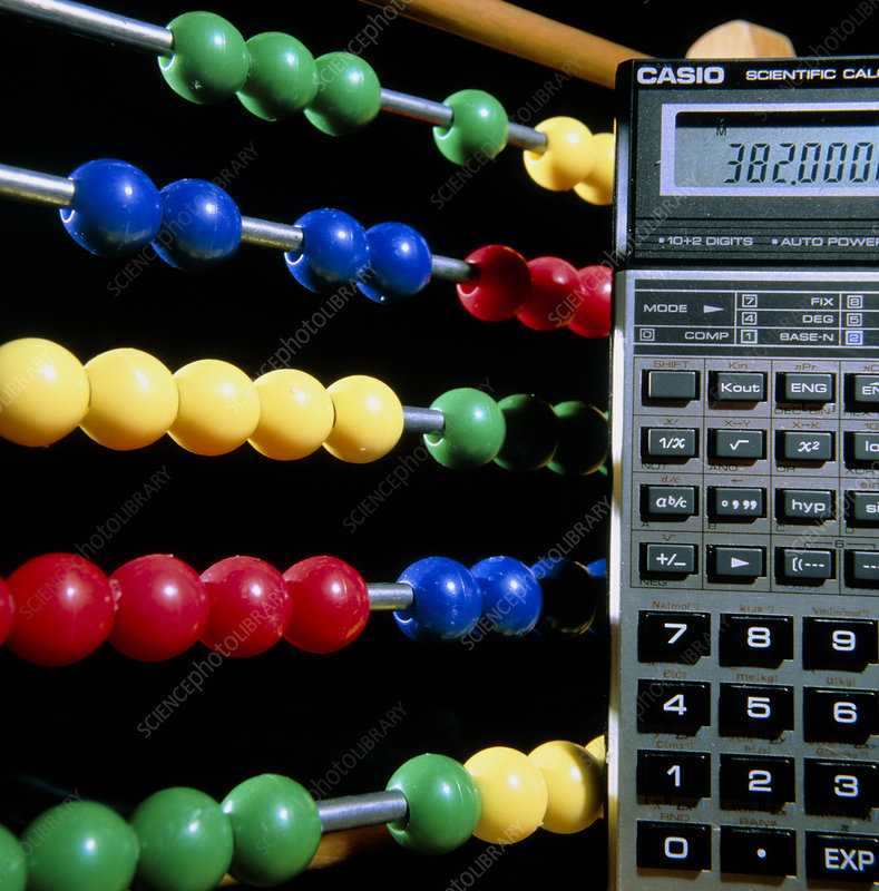 A modern pocket calculator and a chinese abacus