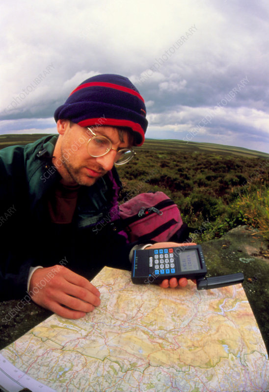 Walker using hand-held GPS receiver