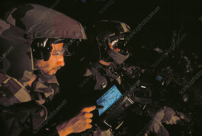 Soldiers using global positioning system