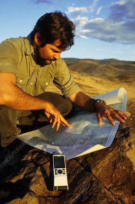 Geologist with global positioning receiver